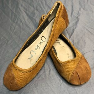 Toms One For One brown suede and corduroy ballet flats size 7